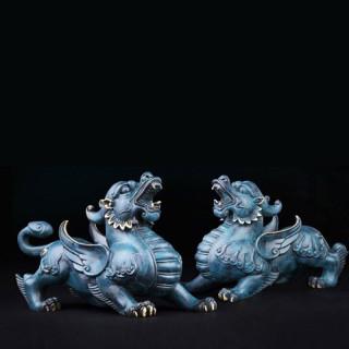 Tỳ Hưu Lam Ngọc - Linh Vật Chiêu Tài ,Hóa Sát , Kích Tài Lộc, Tăng Vượng Khí