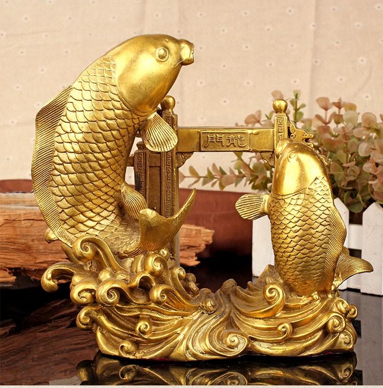 Tượng linh vật phong thủy cá chép vượt vũ môn hóa rồng bằng đồng thau cỡ  đại - cachepvumondai